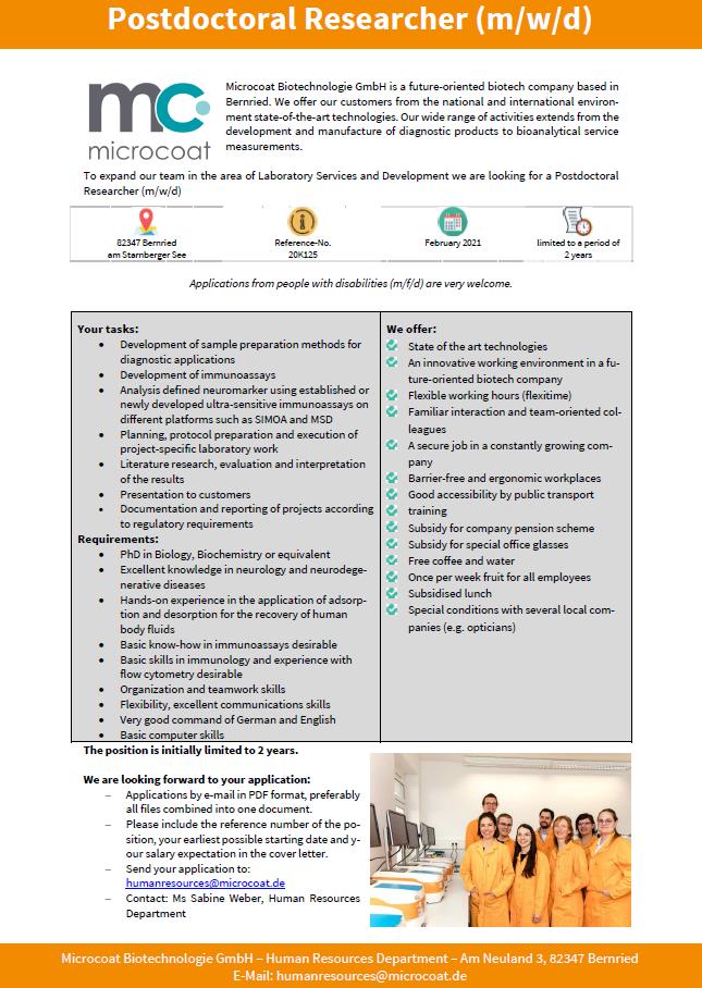 Postdoctoral Researcher (m/w/d) - Laboratory Services