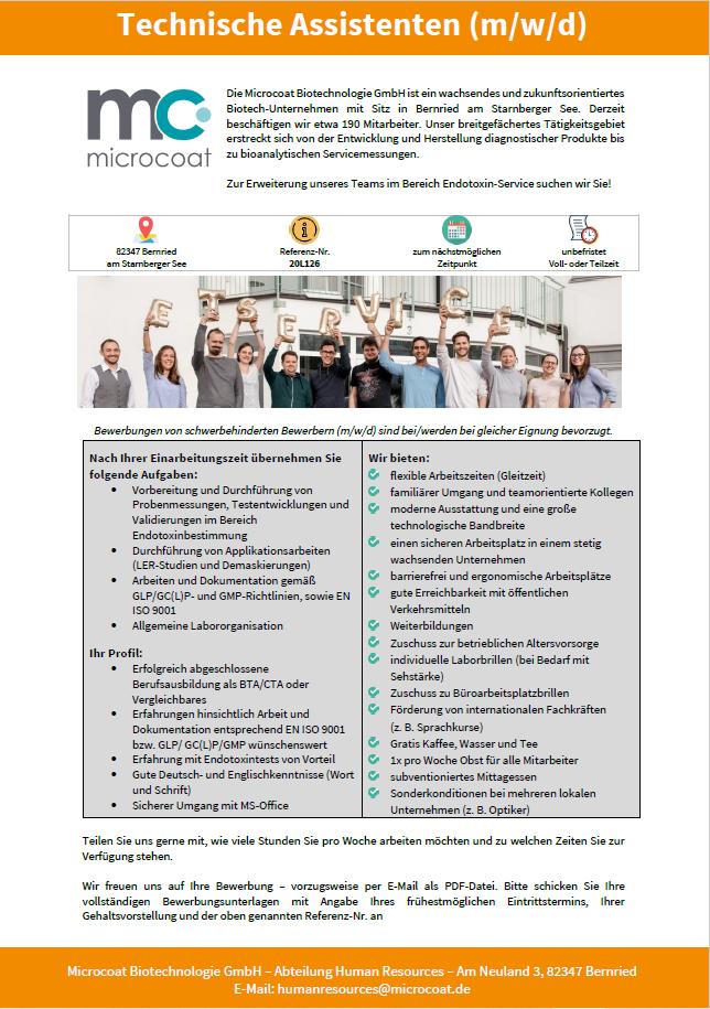Technische Assistenten (m/w/d) - Endotoxin-Service