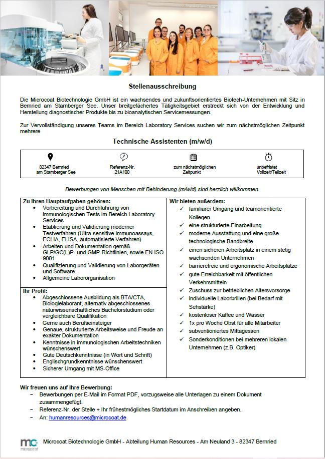 TA Laboratory Services - 21A100