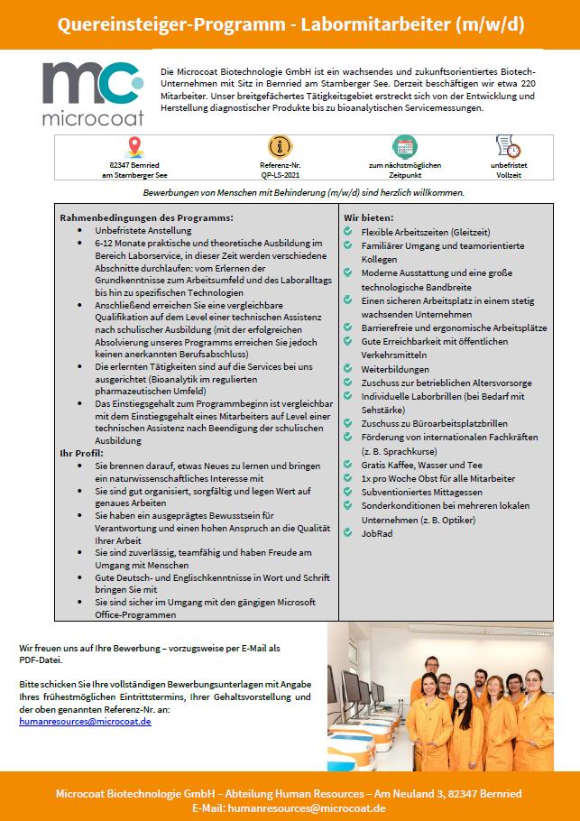 Quereinsteiger-Programm - Ref-Nr. QP-LS-2021